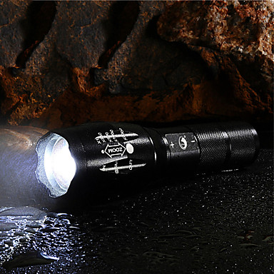 رخيصةأون المصابيح اليدوية وفوانيس الإضاءة للتخييم-U'King LED Flashlights LED LED بواعث 2000 lm 5 إضاءة الوضع مع البطارية والشاحن زوومابلي Adjustable Focus تخفيت Camping / Hiking / Caving Everyday Use متعددة الوظائف أسود