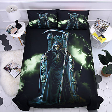 cheap Happy Halloween-Duvet Cover Sets 3D Poly / Cotton / 100% Cotton Reactive Print 3 PieceBedding Sets