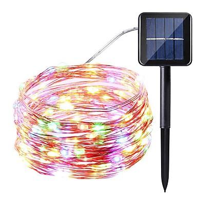 お買い得  デコレーション照明-1ピース10メートル100led太陽動力を与えられた導かれたひもライト太陽妖精の照明防水明るい暖かい/白/カラフル