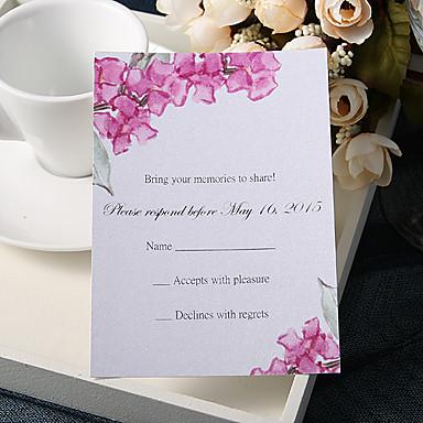 abordables Faire-part mariage-Carte plate Faire-part mariage 20 - Cartes de réponse Style floral Papier nacre