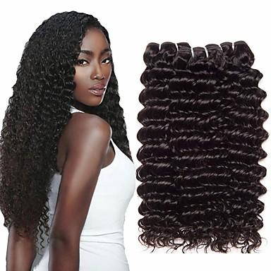 billige Parykker af ægte menneskerhår-3 Bundler Indisk hår Deep Curly Menneskehår Bundle Hair Hårforlængelse af menneskehår Vævning 10-26 inch Naturlig Menneskehår Vævninger Vævet Naturlig nyt Menneskehår Extensions Dame