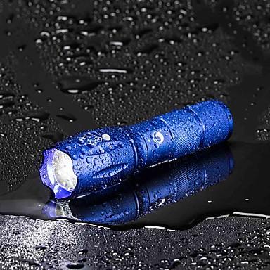 رخيصةأون المصابيح اليدوية وفوانيس الإضاءة للتخييم-U'King LED Flashlights LED LED بواعث 2000 lm 5 إضاءة الوضع مع البطارية والشاحن زوومابلي Adjustable Focus تخفيت Camping / Hiking / Caving Everyday Use متعددة الوظائف أزرق