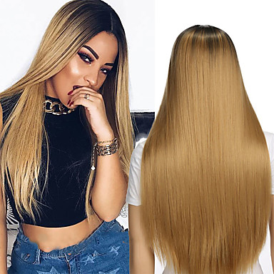 Synthetic Wig Straight Blonde Strawberry Blonde Synthetic Hair