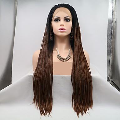 Perruque Lace Front Synthétique / Dreadlocks / Faux Locs Tressé Style Coupe Dégradée Lace Frontale Perruque Noir Auburn Cheveux Synthétiques 24 pouce Femme Homme / Cheveux Colorés / Cheveux Tressés