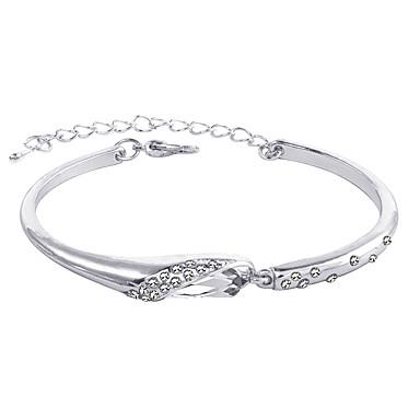 baratos Bangle-Mulheres Bracelete Clássico Europeu Romântico Strass Pulseira de jóias Prata / Azul / Ouro Rose Para Diário