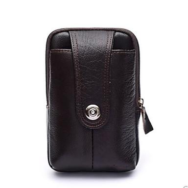 abordables Sacs-Homme Fermeture Cuir de Vachette Mobile Bag Phone Noir / Café / Marron