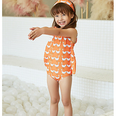 baratos Roupas de Banho para Meninas-Infantil Para Meninas Estilo bonito Praia Estampado Estampado Sem Manga Roupa de Banho Laranja