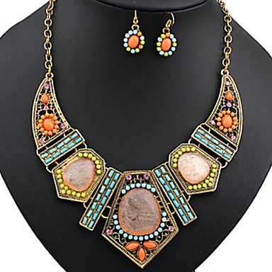 cheap Jewelry Sets-Women's Bib Jewelry Set - Resin, Rhinestone Ladies, Bohemian, Africa, Colorful Include Statement Necklace Dangle Earrings Rainbow For Party Vacation