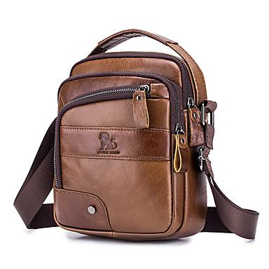 cheap Designers Collections-LAOSHIZI® Men's Embossed Shoulder Messenger Bag Cowhide Solid Color Black / Brown / Fall & Winter