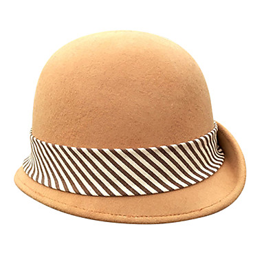 The Marvelous Mrs. Maisel Women's Adults' Ladies Retro / Vintage Cloche Hat Hat Brown Lines / Waves Wool Headwear Lolita Accessories