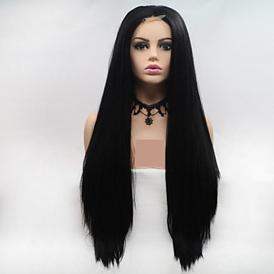 Synthetic Lace Front Wig kinky Straight Style Layered Haircut Lace Front Wig Black Natural Black Synthetic Hair 24 inch Women's Women Black Wig Long Sylvia 130% Density Natural Wigs