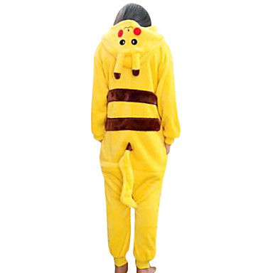 Kid's Kigurumi Pajamas with Slippers Pika Pika Animal Onesie Pajamas Coral fleece Yellow Cosplay For Boys and Girls Animal Sleepwear Cartoon Festival / Holiday Costumes