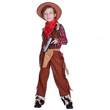 מערב מערב קאובוי קאובוי תחפושות בנים בגדי ריקוד ילדים תלבושות פעיל חג המולד האלווין (ליל כל הקדושים) קרנבל פסטיבל / חג polyster תלבושות חום משובץ / משבצות