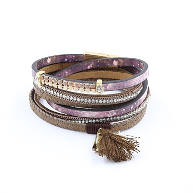 billiga Läder Armband-Dam Läder Armband Lång Vintage PU läder Armband Smycken Purpur / Röd Till Gåva Dagligen