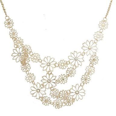 abordables Collier-Collier Col Claudine collier enveloppant Femme Fleur Hyperbole Dorée 60 cm Colliers Tendance Bijoux 1pc pour Festival