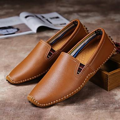 baratos Super Ofertas-Homens Sapatos de couro Pele Primavera Verão Vintage Mocassins e Slip-Ons Não escorregar Preto / Marron / Azul