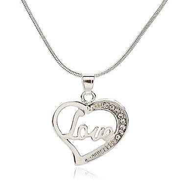 b68abc7ddf6 Women's Cubic Zirconia tiny diamond Pendant Necklace Imitation Diamond Heart  Letter Korean Fashion Cute Lovely Silver 39 cm Necklace Jewelry 1pc For  Daily ...