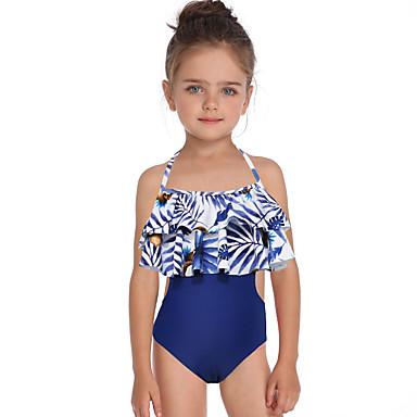 baratos Roupas de Banho para Meninas-Infantil Bébé Para Meninas Básico Estilo bonito Esportes Praia Floral Frufru Estampado Sem Manga Roupa de Banho Azul