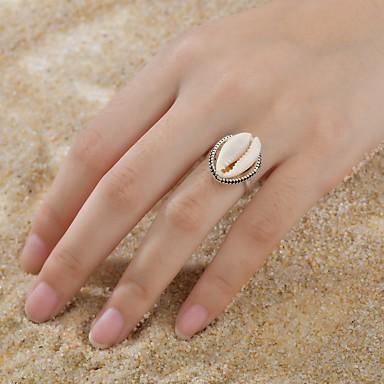 baratos Bijuteria de Mulher-Mulheres Tropical Anel Conchas Liga Anéis Jóias Prata Para Casamento Noivado Casual Para Noite Bandagem 6