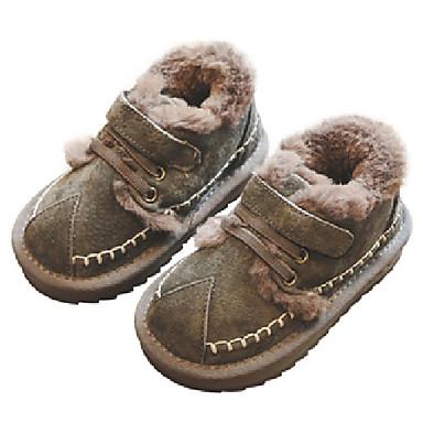 baratos Sapatos de Criança-Para Meninos Couro de Porco Botas Criança (9m-4ys) / Little Kids (4-7 anos) / Big Kids (7 anos +) Conforto Elástico / Velcro Preto / Cinzento / Rosa claro Inverno / Borracha