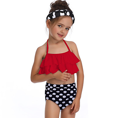 baratos Roupas de Banho para Meninas-Infantil Bébé Para Meninas Básico Estilo bonito Esportes Praia Poá Frufru Sem Manga Roupa de Banho Vermelho