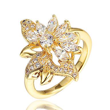 Χαμηλού Κόστους Μοδάτο Δαχτυλίδι-Γυναικεία Λευκό Cubic Zirconia Κλασσικό Δακτύλιος Δήλωσης Δαχτυλίδι 18Κ Επίχρυσο Απομίμηση Μαργαριταριού Προσομειωμένο διαμάντι Λουλούδι Πέταλο Μοντέρνο Στυλάτο Ρομαντικό Μοντέρνα Κομψό Bling Bling