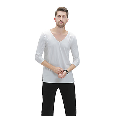 669259439 Latin Dance Tops Men's Performance Modal Ruching Half Sleeve Top ...