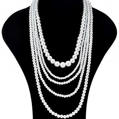 00e8b00d3753 Mujer Largo Collares en capas hebras de perlas collar largo Perla damas  Asiático Nupcial Multi capa Blanco Gargantillas Joyas 1pc Para Boda Fiesta  Ocasión ...
