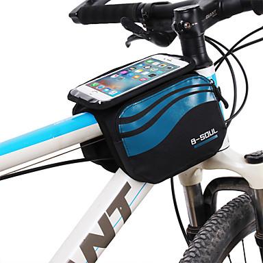 billige Sykkelvesker-B-SOUL 1.2 L Mobilveske Vesker til sykkelramme Berøringsskjerm Bærbar Anvendelig Sykkelveske Nylon Sykkelveske Sykkelveske Sykling / iPhone X / iPhone XR Utendørs Trening Sykkel