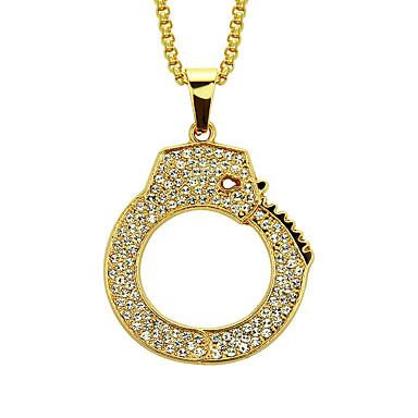 levne Dámské šperky-Pánské Kubický zirkon Náhrdelníky s přívěšky Dlouhé Pouta Rokové Módní Hip-hop Hip Hop Pozlacené Žluté zlato Umělé diamanty Zlatá 76 cm Náhrdelníky Šperky 1ks Pro Street Klub Bar