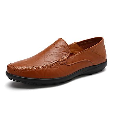 baratos Super Ofertas-Homens Sapatos de couro Couro / Pele Outono / Primavera Verão Casual / Colegial Mocassins e Slip-Ons Respirável Preto / Castanho Claro / Castanho Escuro