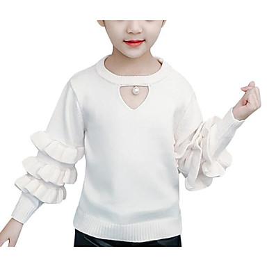 baratos Suéteres & Cardigans para Meninas-Infantil Para Meninas Activo Sólido Manga Longa Suéter & Cardigan Branco