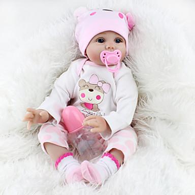 tanie Lalki Reborn-NPKCOLLECTION NPK DOLL Lalki Reborn Dziewczyna Lalki Dziewczynki Reborn Baby Doll 22 in Silikon Winyl - Noworodek Jak żywy Śłodkie Wyrób ręczny Bezpieczne dla dziecka Nietoksyczne Dzieciak Unisex