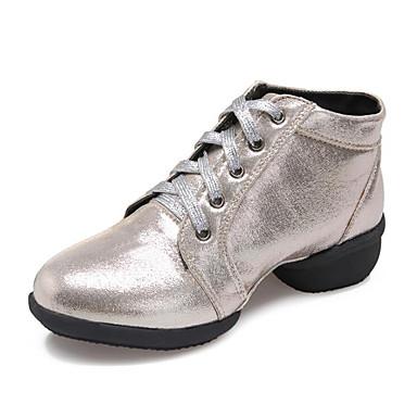 new style dbb07 81cab Damen Tanz-Turnschuh Kunstleder Sneaker Starke Ferse Maßfertigung  Tanzschuhe Gold   Schwarz   Silber