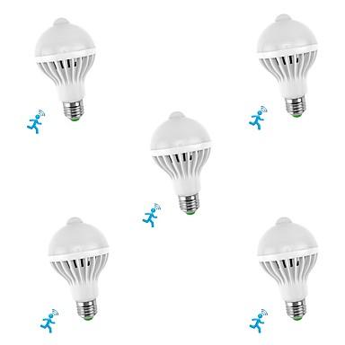 billige Elpærer-5pcs 5 W Smart LED-lampe 300-450 lm E26 / E27 10 LED perler SMD 5730 Sensor Smart Infrarød sensor Hvit 85-265 V / RoHs