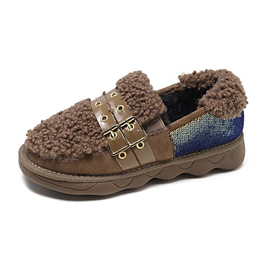 84123f5b904 Women s Faux Fur Fall Loafers   Slip-Ons Flat Heel Black   Khaki