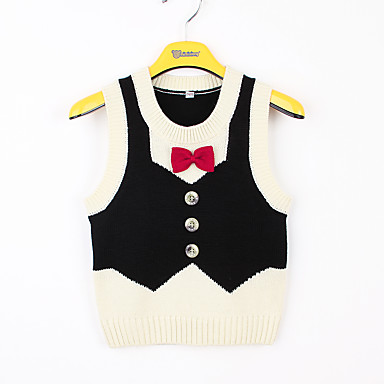 baratos Camisas para Meninos-Infantil Bébé Para Meninos Básico Retalhos Laço Sem Manga Blusa Preto