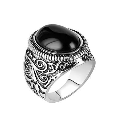 voordelige Herensieraden-Heren Ring Verlovingsring 1pc Zwart Hars Legering Militair Lahja Dagelijks Sieraden Magie Cool