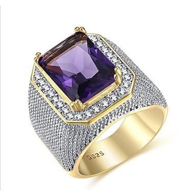 voordelige Herensieraden-Heren Ring Kubieke Zirkonia 1pc Paars Messinki Geometrische vorm Modieus Feest Dagelijks Sieraden Vintagestijl patiencespel Cool