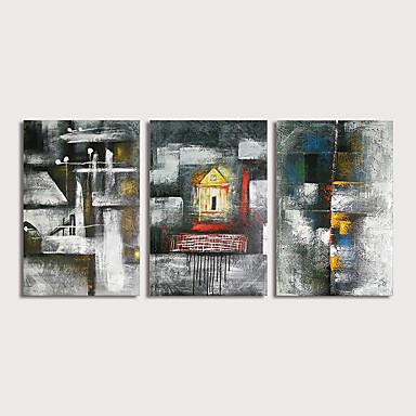 Hang-Painted öljymaalaus Maalattu - Abstrakti Maisema Moderni Sisällytä Inner Frame / 3 paneeli / Venytetty kangas