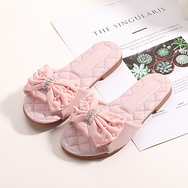 28f7f132faf4 MRLOTUSNEE® Girls  Shoes Microfiber Spring   Summer Comfort   Flower Girl  Shoes Slippers   Flip-Flops Bowknot for Kids   Teenager Light Pink   Ivory  7215064 ...