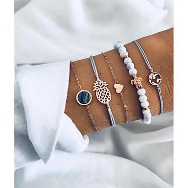 abordables Bracelet-Bracelet Femme Multirang Résine Plans Tortue Ananas Rétro Vintage Européen Mode Bracelet Bijoux Dorée pour Quotidien Plein Air