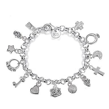 billige Motearmbånd-Dame Vedhend Armband Kors MOON Nøkler Unikt design trendy Mote Legering Armbånd Smykker Sølv Til Daglig Ut på byen Arbeid / Stjerne