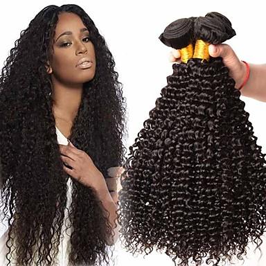 4 pakker Brasiliansk hår Kinky Curly Ubehandlet Menneskehår Hovedstykke Menneskehår, Bølget Bundle Hair 8-28 inch Naturlig Farve Menneskehår Vævninger Blød Silkeagtig Bekvem Menneskehår Extensions