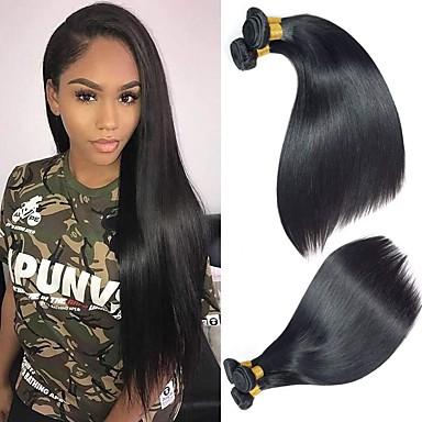 voordelige Weaves van echt haar-4 bundels Braziliaans haar Recht Mensen Remy Haar Menselijk haar weeft Bundle Hair Een Pack Solution 8-28 inch(es) Natuurlijke Kleur Menselijk haar weeft Waterherfst Glad Hot Sale Extensions van echt
