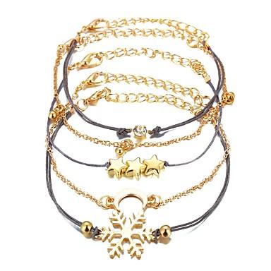 abordables Bracelet-5pcs Parure Bracelet Femme Multirang Lune Etoile Flocon de Neige Elégant Branché Bracelet Bijoux Dorée Circulaire pour Cadeau Plein Air