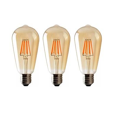 billige Elpærer-3pcs 8 W LED-glødepærer 720 lm E26 / E27 ST64 8 LED perler COB Mulighet for demping Varm hvit 220-240 V 110-130 V / RoHs
