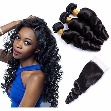voordelige Weaves van echt haar-3 bundels met sluiting Braziliaans haar Los golvend Mensen Remy Haar Menselijk haar weeft Bundle Hair Een Pack Solution 8-20 inch(es) Natuurlijke Kleur Menselijk haar weeft sexy Lady nieuwe collectie