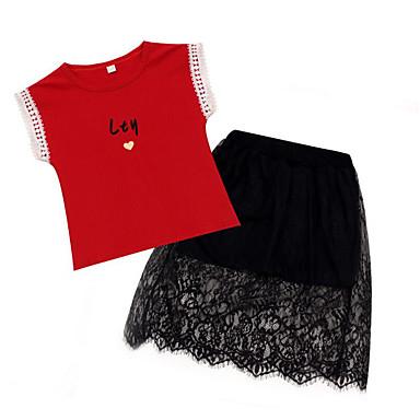levne Sady oblečení-Děti Toddler Dívčí Aktivní Šik ven Tisk Krajka Tisk Krátký rukáv Bavlna Sady oblečení Bílá