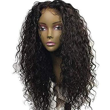 Натуральные волосы Лента спереди Парик Свободная часть стиль Бразильские волосы Кудрявый Черный Парик 130% Плотность волос с детскими волосами Природные волосы Для темнокожих женщин 100